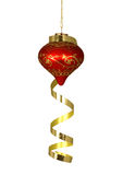 Christmas Tree Ornament. Red and Gold Christmas Tree Ornament Hanging with Gold Ribbon Draped over it Royalty Free Stock Image