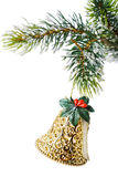 Christmas tree ornament. Christmas tree bell ornament hanging on a branch Royalty Free Stock Photography