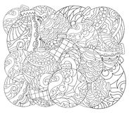Christmas tree ornament adult coloring page. Vector coloring page with fir tree ornament. Stock Image