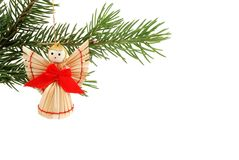 Christmas Tree Ornament Background. Angel  on a tree,  isolated on a white background Stock Image