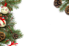 Christmas tree ornament background. Christmas tree ornaments on a white background Stock Photo
