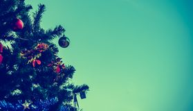 Christmas tree and ornament in background. Stock Photography
