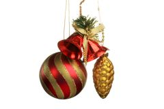 Christmas Tree Ornament, ball, decorations. Isolated white background. Royalty Free Stock Image