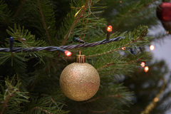 Christmas tree ornament. A golden Christmas tree ornament hanging on the tree royalty free stock photo