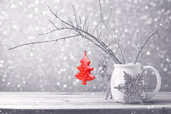 Christmas tree ornament hanging over bokeh background Royalty Free Stock Photos