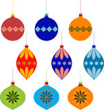 Christmas Tree Ornament Illustartions. Christmas tree ornament illustrations in red, blue, orange, brown and green, Christmas decoration, decorative Christmas Stock Photos