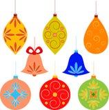 Christmas Tree Ornament Illustrations. Christmas ornament illustrations, red Christmas ornament, yellow Christmas ornament, green Christmas ornament , pink Royalty Free Stock Photos