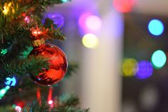 Christmas tree ornament and light. A red Christmas tree ornament hanging on a Christmas tree with light blurry Christmas light in the background stock images