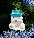 Christmas tree with ornament, Snow man Stock Photography