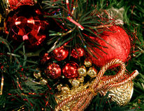 Christmas tree ornaments. A background of a Christmas tree with ornaments Stock Image