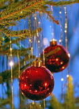 Christmas tree ornaments. Hanging from branch on blue background stock photo