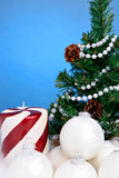 Christmas tree and ornaments Stock Photography