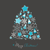 Christmas tree and ornaments Stock Image