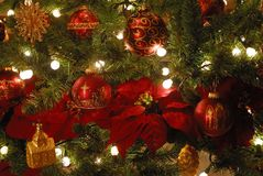 Christmas tree ornaments. Closeup of red and gold Christmas tree ornaments and lights Stock Photography