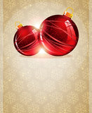 Christmas Tree Ornaments. Two red Christmas baubles on a beige background with transparent snowflakes Royalty Free Stock Photo