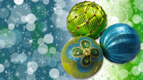 Christmas Tree Ornaments. Green and Blue Christmas Tree Ornaments (with stars, snowflakes and copy space Royalty Free Stock Image