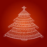 Christmas tree with ornaments. Christmas tree in hand drawn/doodle style. Vector illustration for your design Stock Image