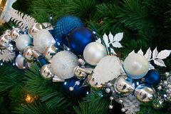 Christmas Tree Ornaments. Close up on an artificial tree Stock Photography