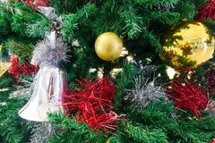 Christmas tree and christmas ornaments. The annual Christian festival celebrating Christ`s birth, held on December 25 in the Western Church Stock Image