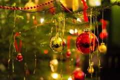 Christmas tree ornaments ball. Red royalty free stock photography