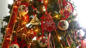 Christmas tree with ornaments balls and blinking lights stock video