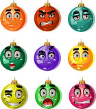 Christmas tree ornaments balls - smiles Stock Photos