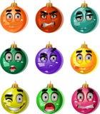 Christmas tree ornaments balls - smiles Stock Photos