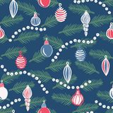 Christmas tree ornaments with branches seamless vector pattern. stock photo
