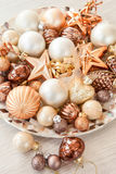 Christmas tree ornaments in bronze tones Stock Photography