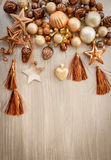 Christmas tree ornaments in bronze tones Stock Image