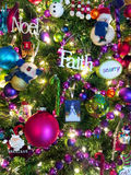 Christmas tree with ornaments. Close up of a Christmas tree ornaments Stock Photos