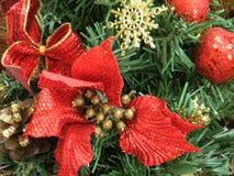 Christmas tree ornaments. Closeup photo of Christmas tree ornaments Stock Image
