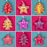 Christmas tree ornaments collage royalty free illustration