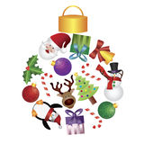 Christmas Tree Ornaments Collage Illustration stock illustration