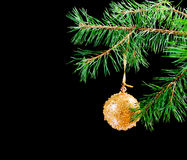 Christmas tree ornaments  on dark Royalty Free Stock Photos