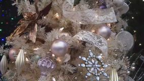 Christmas tree ornaments decoration stock video footage