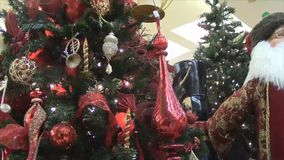 Christmas tree ornaments decoration stock footage