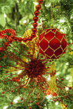 Christmas tree and ornaments Royalty Free Stock Photo