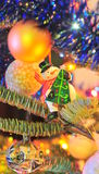 Christmas tree ornaments - Frosty the snowman. Christmas ornaments hanging in the tree stock photo