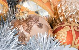 Christmas tree ornaments and garland Stock Photos