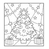 Christmas tree with ornaments and gifts. Christmas. New year. Co. Loring book for kids. Coloring Page stock illustration