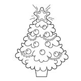 Christmas tree with ornaments and gifts. Christmas. New year. Coloring book for kids. Coloring Page vector illustration