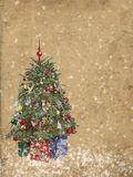 Christmas tree with ornaments on grunge background. Stock Images