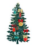 Christmas tree with ornaments. Glass balls, bows, snowflakes Stock Image