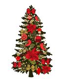 Christmas tree with ornaments. Glass balls, bows, snowflakes, bullfinches and poinsettia flowers Royalty Free Stock Images