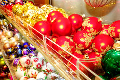 Christmas tree ornaments. Christmas tree globes ornaments in a decoration store stock photography