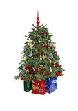 Christmas tree with ornaments. Isolated. Royalty Free Stock Photography