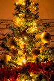 Christmas  tree with ornaments. Christmas tree with ornaments and many colorful lights with bokeh Royalty Free Stock Photo