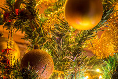 Christmas  tree with ornaments. Christmas tree with ornaments and many colorful lights with bokeh Stock Images