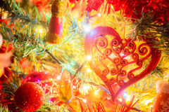 Christmas  tree with ornaments. Christmas tree with ornaments and many colorful lights with bokeh Stock Photography